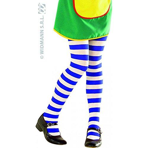 Widmann 4729E, Strumpfhose weiss - blau, gestreift 70 DN für Kinder und Jugendliche in 3 Gößen S = 4-6 Jahre, M = 7-10 Jahre, L = 11-14 Jahre (Small 4-6 Jahre)