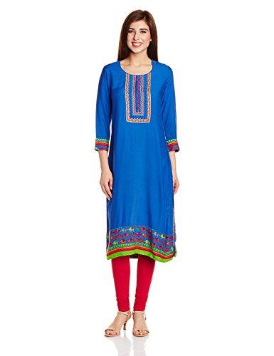 Rangriti Women's Straight Kurta (INDIAN C1080_Blue_36)