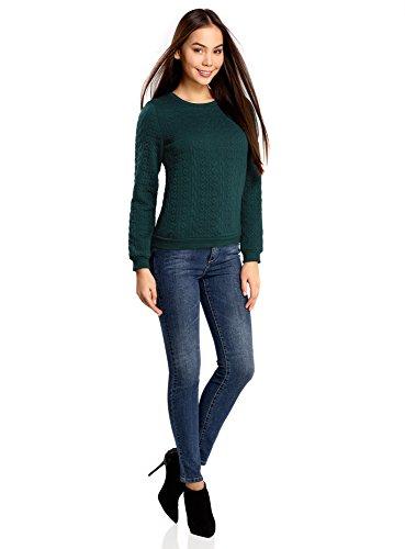 oodji Collection Damen Sweatshirt aus Strukturiertem Stoff Grün (6C00N)