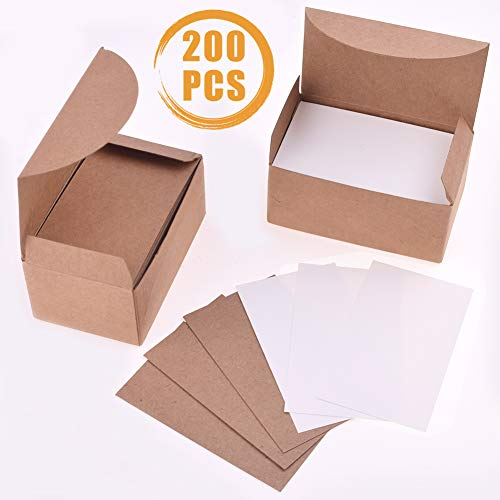 Quacoww 200 Pcs Blank Business Cards Kraft Word Paper Cards 2 Colours for DIY Gift Card, Leaving Messages and Early Childhood Education