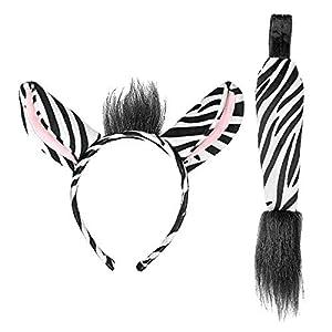 WIDMANN 09732 - Set de orejas y cola de cebra para mujer, color blanco/negro, talla única