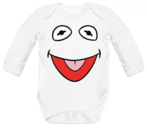ShirtStreet Fasching Karneval Verkleidung Strampler Bio Baumwoll Baby Body langarm Longsleeve Frosch Kostüm, Größe: 3-6 Monate,White (Muppet Babies Kostüm)