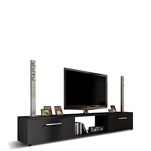 Mirjan24 TV Lowboard Board Horton I, TV Schrank, Tisch, Fernsehtisch B:176 cm, H:28 cm, T:40 cm, Fernsehschrank TV-Bank (Schwarz)