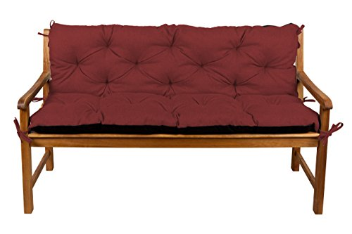 Bankauflage Bankkissen Sitzkissen + Rückenlehne für Hollywoodschaukel Gartenpolster (140x50x50, 8 Bordeauxrot)