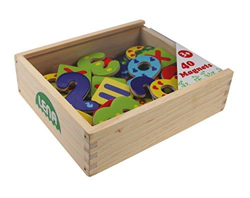 SIMM Spielwaren Lena 65824 - Holz Magnet Zahlen und Rechenzeichen in Holzkiste, 40-teilig