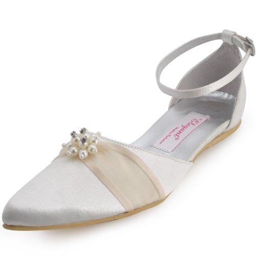 78ec2172be5d0 Elegantpark A711 Women S Bridal Pointed Toe Pearls Satin Buckle Flat Heel  Wedding Shoes Ivory 8
