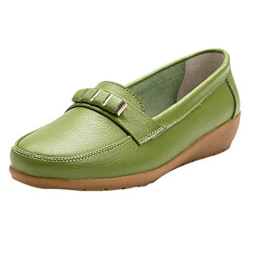 Luckhome Klettverschluß Sandalen Socken Wechselfußbett Damen Schuhe Damen vielseitige Flache Schuhe weicher Boden große Größe lässig einfarbig Schuhe(Hellgrün,EU:39) (Für Böden Läufer)