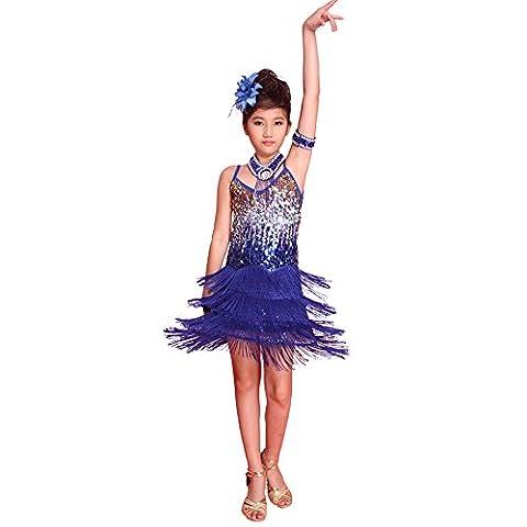 ESHOO Mädchen Kinder Sequined Latein Salsa Tassel Dancewear Tanzen Kleid Kostüm, Blau 2, L (Höhe 150-160 (Hübscher Tanz Kostüme Für Mädchen)