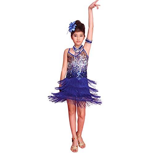 ESHOO Mädchen Kinder Sequined Latein Salsa Tassel Dancewear Tanzen Kleid Kostüm (Tanzen Kostüm Kinder)