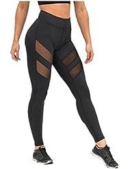 Femmes Sexy taille haute skinny Jambières de Patchwork, Mesh Push Up Yoga Pants