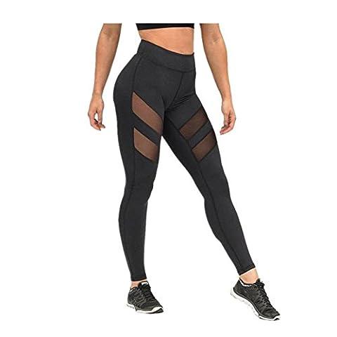 Femmes Sexy taille haute skinny Jambières de Patchwork, Mesh Push Up Yoga Pants (Taille: L)
