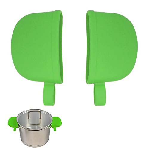 Atekuker Silicone Hot Handle Covers, Pan Handle Holders Sleeves (Green)