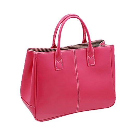 Sentao Donna Shopper Borse a Spalla Tracolla Borsa Grande Capacità PU Cuoio Borsetta Pure Color Rose