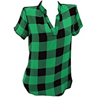 junkai Mujer Camisas Sexy Cuello V Camisa de Cuadros Temporada de Verano Manga Corta Camisa Casual Suelta S-5XL