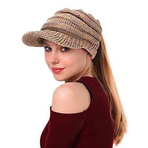 Tacobear Damen Wintermütze Pferdeschwanz Mütze Strickmütze gestrickte Baseballmütze mit Zöpfen Loch Beanie Hut für Pferdeschwanz Brötchen (Mehrfarbig 3)