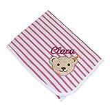 Steiff Jersey Babydecke mit Namen bestickt 90 cm x 60 cm weiß pink gestreift Krabbeldecke little doves fruit dove 6912250