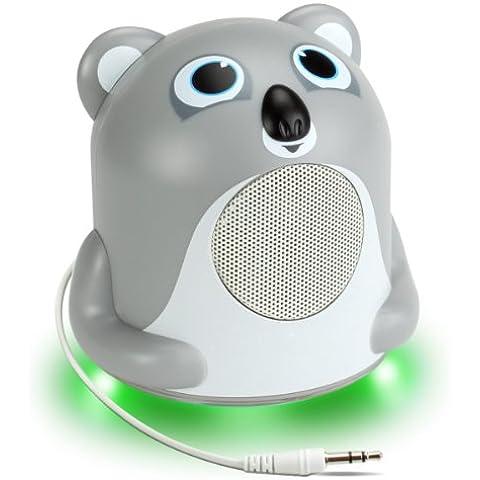 Altavoz Portátil para Niños - Groove Pal Jr. Koala con Luz LED Verde Brillante – ¡El regalo perfecto! Perfecto para reproducir: Frozen las canciones / Frozen la pelicula / Lego la pelicula y muchas otras canciones y peliculas para