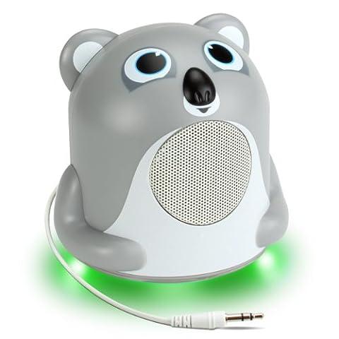 Enceinte Haut-Parleur Enfant avec LED à la Base – Pour Smartphones , Tablettes , MP3 : Apple iPhone , iPad , iPod / Samsung Galaxy Tab et tout Appareil équipé d'un Port Jack 3.5 mm - Koala Jungle Party