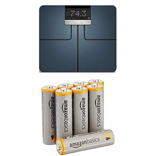Garmin Unisex Index Körperanalysewaage, Gewichts und Körperanalysen, BMI, Körperfett, ANT+/Bluetooth Kompatibilität, 010-01591-10 mit AmazonBasics Batterien