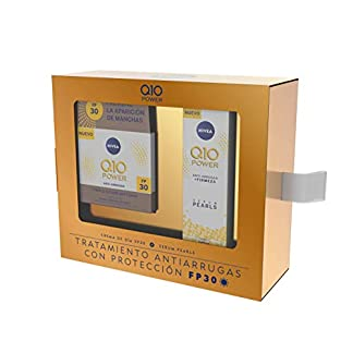 NIVEA Q10 Power Día FP30 1 x 50 ml y Serum Pearls 1 x 40 ml, tratamiento antiarrugas con protección FP30, caja de regalo con crema antiedad y sérum facial
