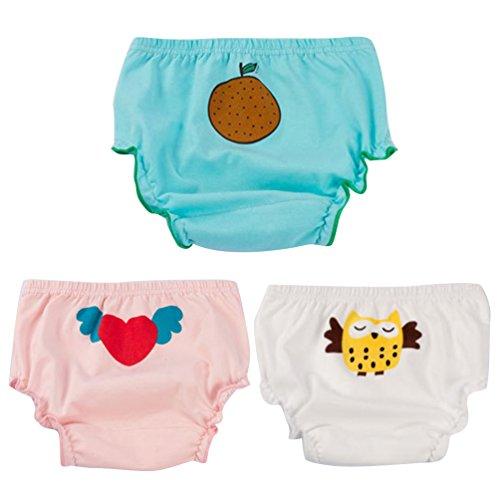 JEELINBORE JEELINBORE Baby Mädchen Rüschen Unterhosen Ruffle Panties Briefs Höschen Unterwäsche, 3er Pack | für 1-5 Jahre (Stil1 Eule(3PCS), 80)