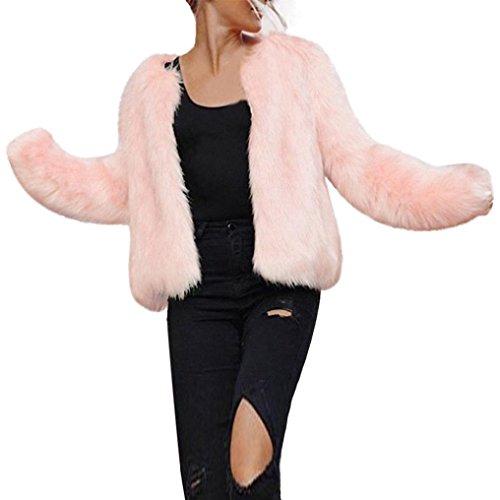Frau Faux Pelz Kurzer Mantel Hirolan Winter Warm Pelzjacke Lange Hülse Oberbekleidung Nachahmung Pelz Mantel Rosa Weste Jacke Mantel faux fur jacke (M, Rosa) (Faux Mantel Pelz Jacke)