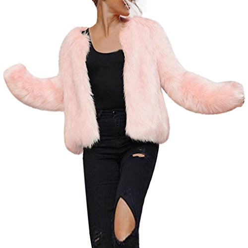 Frau Faux Pelz Kurzer Mantel Hirolan Winter Warm Pelzjacke Lange Hülse Oberbekleidung Nachahmung Pelz Mantel Rosa Weste Jacke Mantel faux fur jacke (L, Rosa) (Rosa Haar-womens T-shirt)