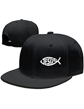 Jesús peces béisbol Flat Bill sombrero, Hiphop Adjustbale tapa, Negro