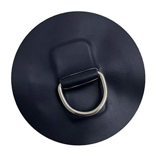 perfk Edelstahl D-Ring mit 4\'\' Hochwertig Schwarz Pad Patch für Schlauchboot Kajak Reparatur