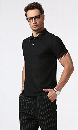 Whatlees Herren Basic kurzarm Poloshirts Hemd Shirts in verschiedene Farben B477-Black