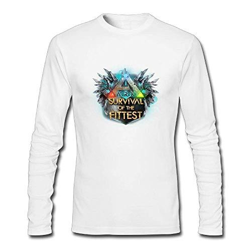 Lässige Herren Baumwolle Cool ARK Survival Evolved Logo Graphic Tee Shirts Langarm Rundhals T-Shirt Weiß XL -