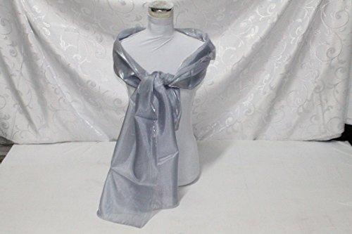 Russo tessuti stola sciarpa coprispalle cerimonie organza argento 70x200cm