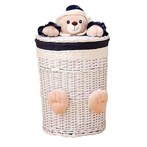 YHNUJMIK Bedeckter Wäschekorb Spielzeug-Ablagekorb Korbgeflecht aus Rattan Handgewebt Mit Cartoon-Muster Entfernbar Futterstoff aus Baumwolle Weiden Atmungsaktiv Weiß,48cm (Wäschekorb Weide Mit Liner)