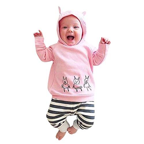 YunYoud Baby Bekleidung 3 Stück Kleinkind Junge Mädchen Kapuzenpullover Niedlich Mode Tops Streifen Hose Stirnband Weich Outfits Sätze (80, Niedlich Rosa)