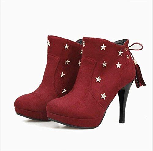 Autunno e inverno tacco stivali stivali nudo e roundhead impermeabile piattaforma stivali stivali femminili di marea wine red