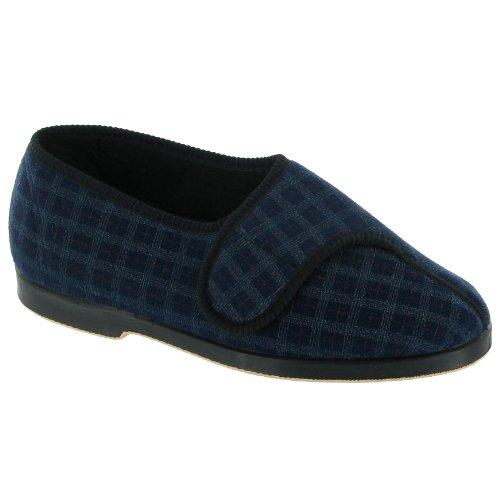 GBS Hamish Herren Hausschuhe / Slippers mit Klettverschluss Blau