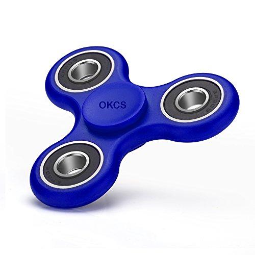 Fidget Spinner - OKCS - Spielzeug Tri Spinner Stresslöser Konzentration Rundes Design - Blau Fidget Erwachsenen
