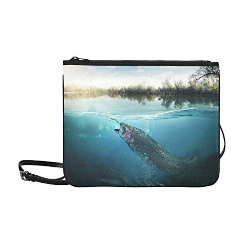 JEOLVP Fischerei-Nahaufnahme geschlossener Angelhaken darunter Stockfoto Muster-Gewohnheit hochwertiges dünnes Nylon-Clutch Bag Cross-Body Bag Shoulder Bag -