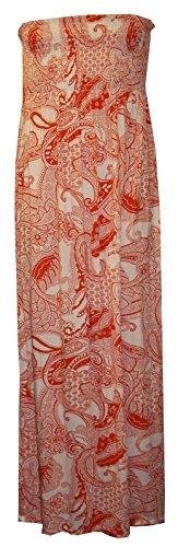 Schlauchkleid für Damen, bedruckt, Stretch, Maxikleid, Größe 34-54 - CORAL PAISLEY