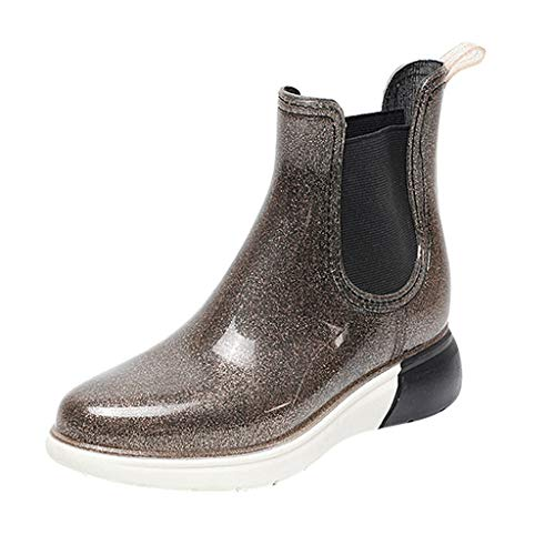 TIMEMEAN Womens Waterproof Rain Boots Slip-On Flashing Short Shoes Size 35-40
