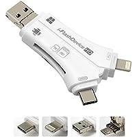 Micro SD / TF Multi-Kartenleser Zrse 4 in 1 USB Adapter Kartenlesegerät Speicherkarte mit Blitz / Micro USB / Typ C / USB 2.0 Anschluss für iPhone iPad Android Typ C Telefone / Mac / PC (Weiß)