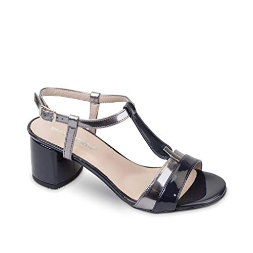 VALLEVERDE 45331 Sandali Scarpe Tacco Elegante Pelle Donna Blu