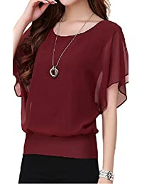 FINEJO Womens Career Candy Color Chiffon Tops Fitted Puff Sleeve Shirt Clubwear Blouse