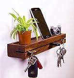 Woodkopf Schlüsselbrett, Schlüsselleiste,Schlüsselhalter, Holz in Nussbaum mit Ablagemulde