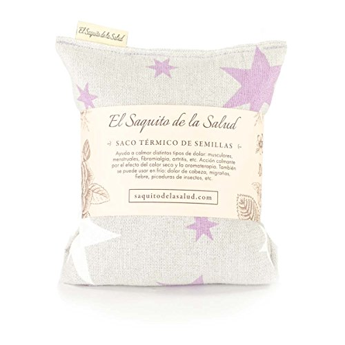 Saquito de la salud - borsa termica con semi, agli aromi di lavanda, zagara o rosmarino, in tessuto con stelle rosse 23 cm