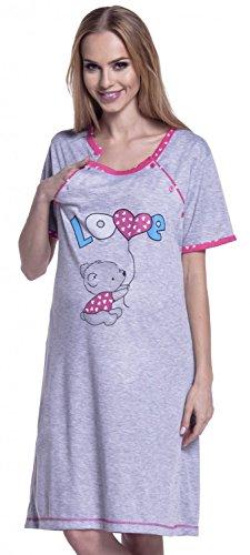 Happy Mama. Damen Umstands-Nachthemd mit Stillfunktion. Stillshirt Kurzarm. 141p (Fuchsie, EU 42/44, XL)