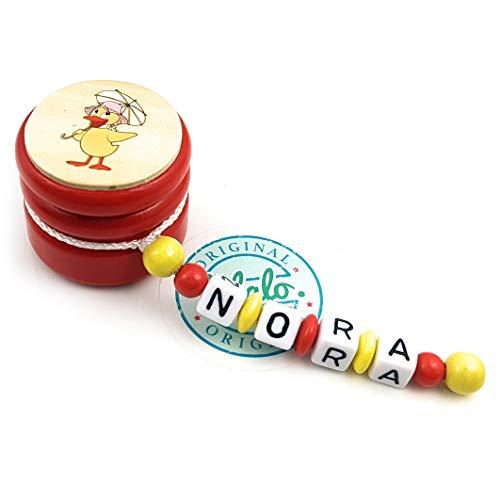 LALALO Zahndose mit Namen, Sandmann, Zahnbox Holz Milchzähne Box Gravur, Milchzahndose Zahndöschen für Kinder personalisiert (Ente Schnatterinchen, Rot Gelb) -