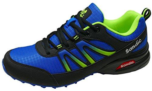 gibra Herren Sneaker Sportschuhe, Art. 9637, Sehr Leicht und Bequem, Blau/Schwarz/Neongrün, Gr. 41-46 blau/schwarz/neongrün