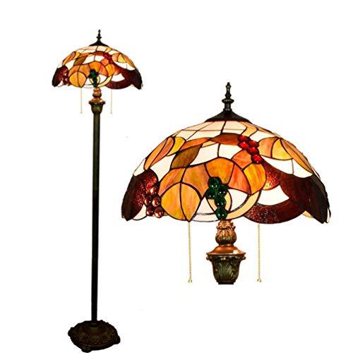 Traube Eisen (XYQS Tiffany Style Stehleuchte Glasmalerei Eisen Lichtmast Antike Traube Lampenschirm Stehlampe 64 Zoll Hoch für Schlafzimmer Wohnzimmer Leselampe (watt : 110V))