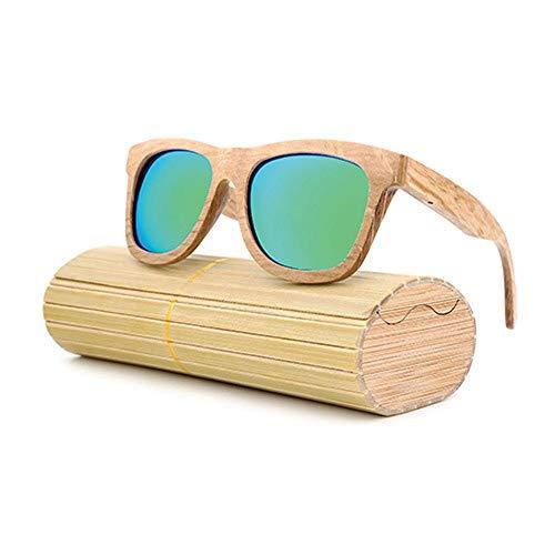 Easy Go Shopping Männer Frauen Große Rahmen Polarisierte Klassische Vintage Sonnenbrille 100% UV Schutz Bambus Holz Sonnenbrille Für Sonnenbrillen und Flacher Spiegel (Color : Grün, Size : Kostenlos)
